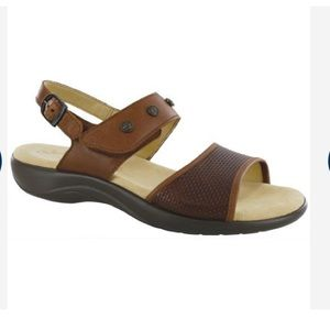 SAS Lisette Brown Ankle Strap Leather Sandals 10